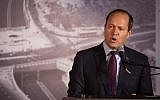 Jerusalem Mayor Nir Barkat speaks during a road opening ceremony in Jerusalem, on September 7, 2017. (Hadas Parush/Flash90)