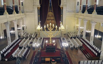 Synagogue interior, illustrative (Serge Attal/FLASH90)