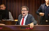 Then-Likud Knesset member Oren Hazan reacts during a Knesset plenary session, on November 27, 2017. (Hadas Parush/Flash90)