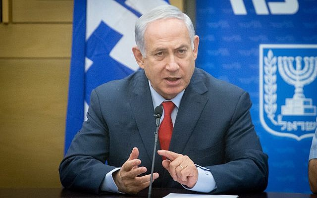 Prime Minister Benjamin Netanyahu attends a Likud faction meeting at the Knesset on November 27, 2017. (Miriam Alster/Flash90)