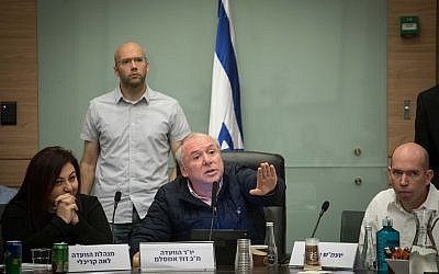 David Amsalem, chairman of the Internal Affairs Committee, leads a discussion about the 'Recommendations bill,' on December 3, 2017. (Hadas Parush/Flash90)