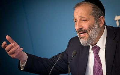 Interior Minister Aryeh Deri at a press conference announcing a new reform for small businesses at the Prime Minister's Office in Jerusalem, on December 3, 2017. (Yonatan Sindel/Flash90)