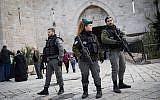 Border Police officers are seen at the Old City of Jerusalem's Damascus Gate, December 7, 2017. (Hadas Parush/Flash90)
