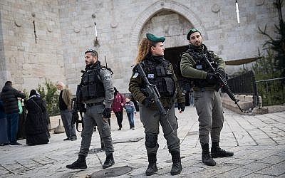 Border Police officers are seen at the Old City of Jerusalem's Damascus Gate during a protest against US President Donald Trump's recognition of the city as Israel's capital on December 7, 2017. (Hadas Parush/Flash90)