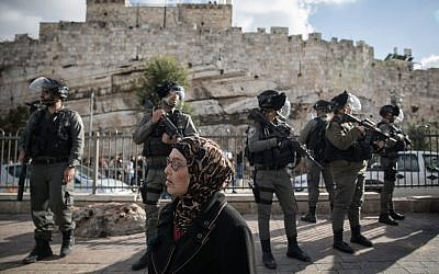 Israeli Border Police stand guard during a protest by Palestinians at Damascus Gate in the Old City of Jerusalem, following US President Donald Trump's announcement that he recognized Jerusalem as the capital of Israel, on December 7, 2017. (Hadas Parush/Flash90)
