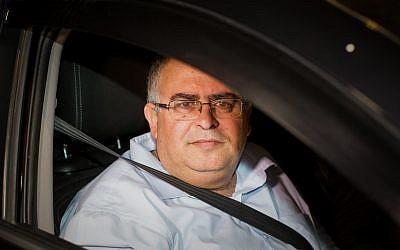 Coalition chairman Likud party MK David Bitan leaving the Lahav 433 national crime unit of the Israel Police on December 10, 2017. (Roy Alima/Flash90)