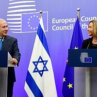 Prime Minister Benjamin Netanyahu (left)  holds a joint press conference with the European Union's foreign policy chief, Federica Mogherini in Brussels, Belgium, October 11, 2017.(Avi Ohayon/GPO)