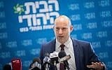 Education Minister and Jewish Home party leader Naftali Bennett leads a faction meeting at the Knesset on December 11, 2017. (Yonatan Sindel/Flash90)