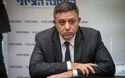 Zionist Union Chairman Avi Gabbay leads the faction meeting at the Knesset, on December 18, 2017. (Hadas Parush/Flash90)