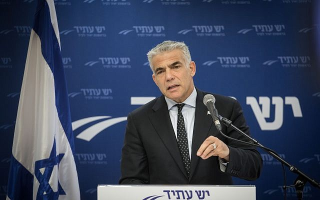 Yesh Atid party leader Yair Lapid leads a faction meeting at the Knesset, December 18, 2017. (Hadas Parush/Flash90)