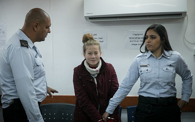 Ahed Tamimi, at the Ofer military court in the West Bank, on December 25, 2017. (Flash90)