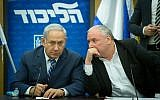 Prime Minister Benjamin Netanyahu (left) and coalition chairman David Amsalem converse during a Likud faction meeting at the Knesset on December 25, 2017. (Miriam Alster/Flash90)
