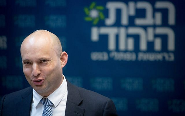 Jewish Home party leader Naftali Bennett leads a faction meeting at the Israeli parliament on December 25, 2017. (Miriam Alster/FLASH90)