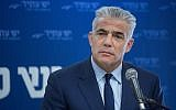 Yesh Atid party leader Yair Lapid speaks at a meeting in the Knesset on December 25, 2017. (Miriam Alster/Flash90)
