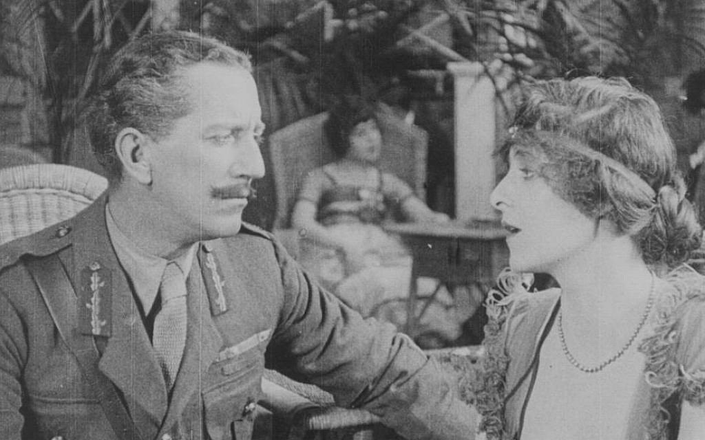 While early British films had anti-Semitic over-and-undertones, by WWI things were slightly better, as in the 1920 film 'The General Post' about a Jew who falls in love with a gentile woman. This film is A still from the 1908 film, 'The Robber and the Jew.' Many early British depictions of Jews were stereotypically anti-Semitic. This film is part of the 'Jewish Britain on Film' project. (Courtesy)