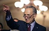 Senate Minority Leader Charles Schumer (D-NY) talks to reporters following his party's weekly policy luncheon at the US Capitol May 16, 2017 in Washington, DC. (Photo by Chip Somodevilla/Getty Images via JTA)