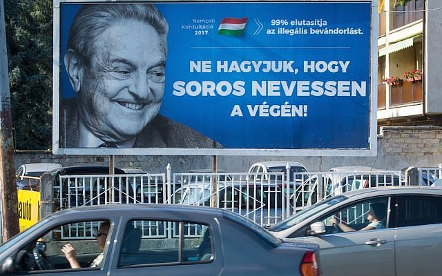 This poster featuring US billionaire George Soros in Szekesfehervar, Hungary, reads, 'We can't let Soros get the last laugh.' It was part of a government campaign, July 6, 2017. (Attila Kisbenedek/AFP/Getty Images)