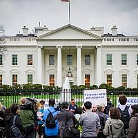 A HIAS protest in front of the White House in which people shared stories of their family members who were refugees or immigrants, March 1, 2017. (Ted Eytan via JTA)