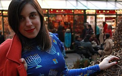 Molly Tolsky poses in her Hanukkah dress, Bryant Park, New York, 2017 (Marissa Roer)