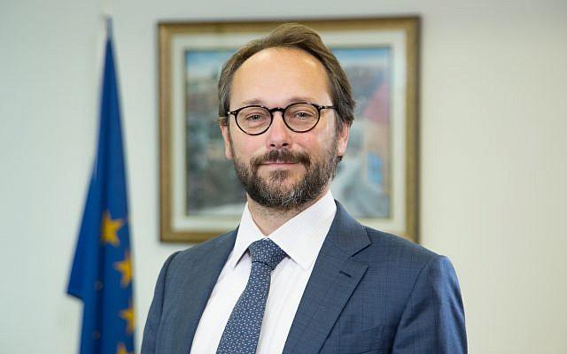 EU Ambassador to Israel Emanuele Giaufret in his Ramat Gan office in December 2017. (Ariel Zandberg)