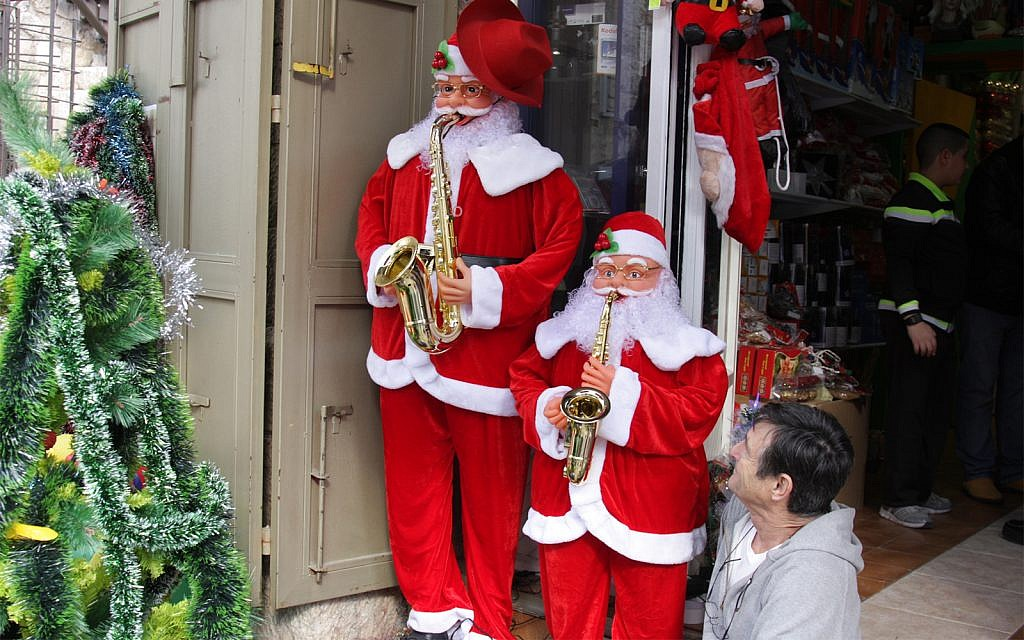 Christmas decorations in Jerusalem's Old City. (Shmuel Bar-Am)