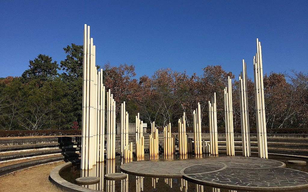 One of the several monuments in Yaotsu, Japan, at the Chiune Sugihara Memorial Hall museum. The bamboo trunks stand for the number of countries in the United Nations. (Amanda Borschel-Dan/Times of Israel)