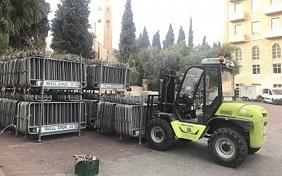 Security barriers set up outside the King David Hotel in Jerusalem ahead of US Vice President Mike Pence's are taken down on December 19, 2017. (Times of Israel)