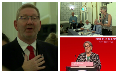 Photos from the 2017 Jewish Voice for Labour conference, clockwise, from left: Ken McCluskey, general secretary of UNITE; Jenny Manson, chair of Jewish Voice for Labour introducing filmmaker Ken Loach; Leah Lavane speaking on behalf of her Hastings and Rye district. (Screenshots/YouTube)