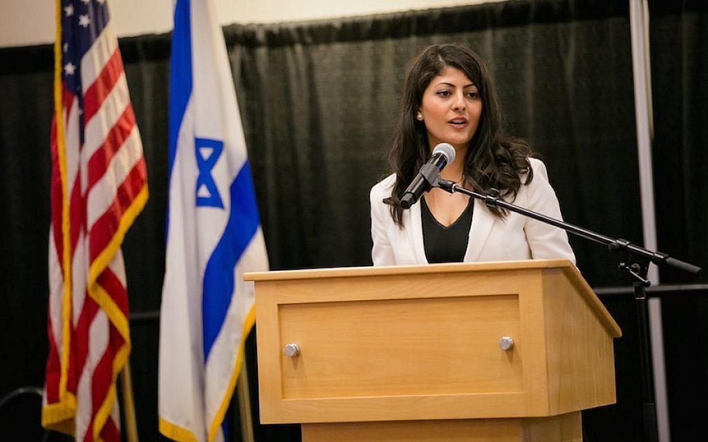 Lian Najami speaking at an Israeli Independence Day student gala at Boston University, in Boston, Mass., April 6, 2017. (Nir Landau for Combined Jewish Philanthropies via JTA)