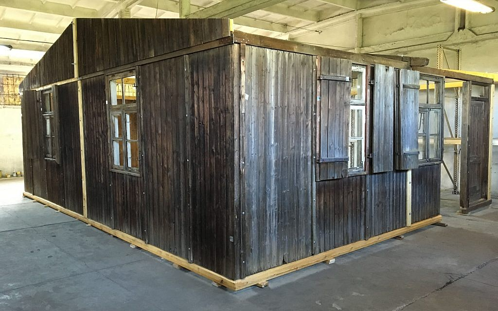 Original barracks from the former Nazi death camp Auschwitz-Birkenau, on display in Madrid, Spain, December 2017 (Courtesy of Musealia)