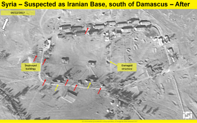 A satellite image showing the results of an alleged Israeli airstrike on a reported Iranian base being set up outside Damascus, from December 4, 2017. (ImageSat International ISI)