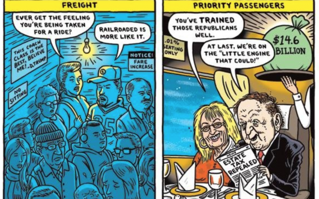 Part of a December 1, 2017, Boston Globe cartoon showing Sheldon and Miriam Adelson