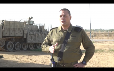 Maj. Gen. Eyal Zamir, head of the IDF Southern Command, delivers a warning message to the Hamas terrorist group on December 10, 2017. (Screen capture: Israel Defense Forces)