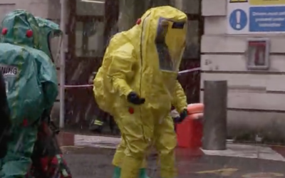 British emergency services hold a chemical attack drill at the Israeli Embassy in London, December 10, 2017 (Daily Mail screenshot)