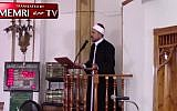 Islamic Center of Jersey City Imam Aymen Elkasaby gives a sermon on November 24. (Screen capture/Memri)