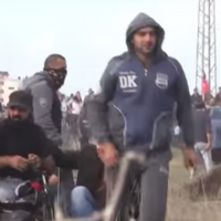 Ibrahim Abu Thurayeh at the Gaza border on December 15, 2017 (YouTube screenshot)