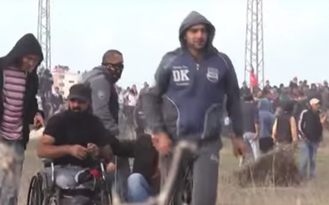 Ibrahim Abu Thurayeh at the Gaza border on December 15, 2017. (YouTube screenshot)