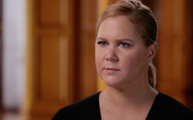 Amy Schumer learned details about her Jewish relatives on Season 4, Episode 10 of 'Finding Your Roots With Henry Louis Gates Jr.,' which aired on December 19, 2017. (Screenshot from PBS via JTA)