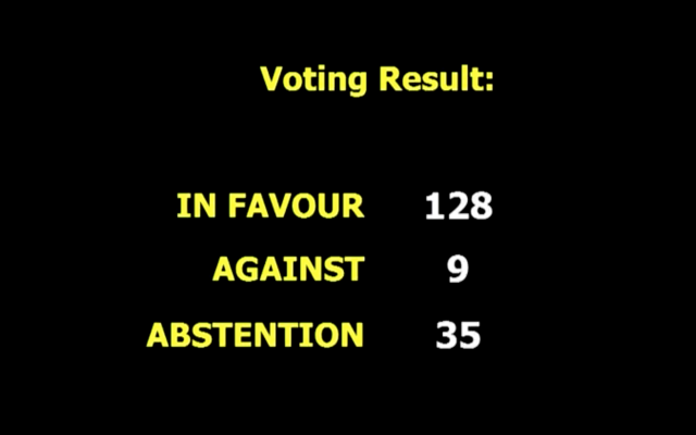 The UN General Assembly displays the result of a vote opposing US recognition of Jerusalem as Israel's capital, December 21, 2017 (UN screenshot)
