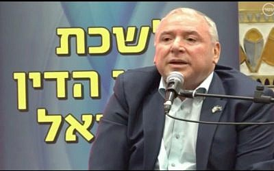 Coalition chairman David Amsalem speaks at a Bar Association conference in Eilat on December 23, 2017. (Screen capture/Channel 10)