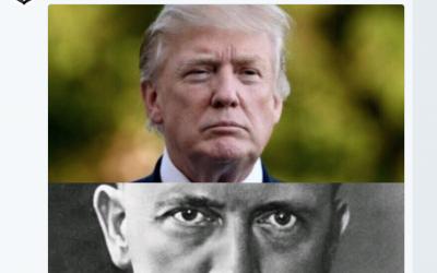 Fatah tweet from December 14, 2017 compares US President Donald Trump to Adolph Hitler. (Screenshot Twitter)