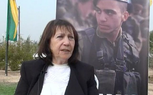 Zehava Shaul speaks with Channel 10 following a ceremony marking the birthday of her late son, IDF soldier Oron Shaul, on December 29, 2017 (Screen capture: Channel 10)