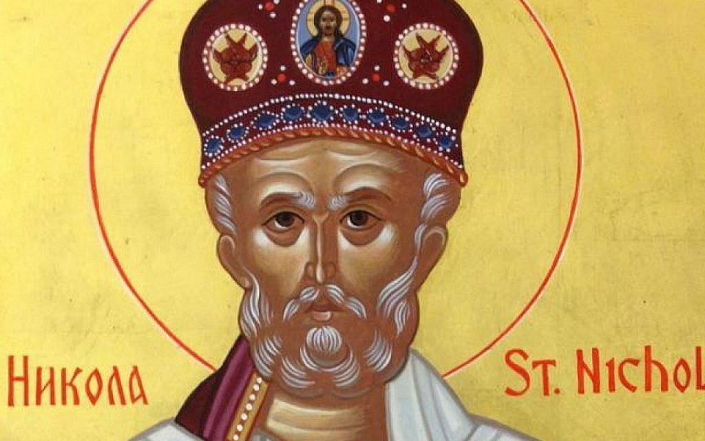 Inset of an image of St. Nicholas that adorns the Indianapolis, Indiana, St. Nicholas Serbian Orthodox Church. (courtesy)