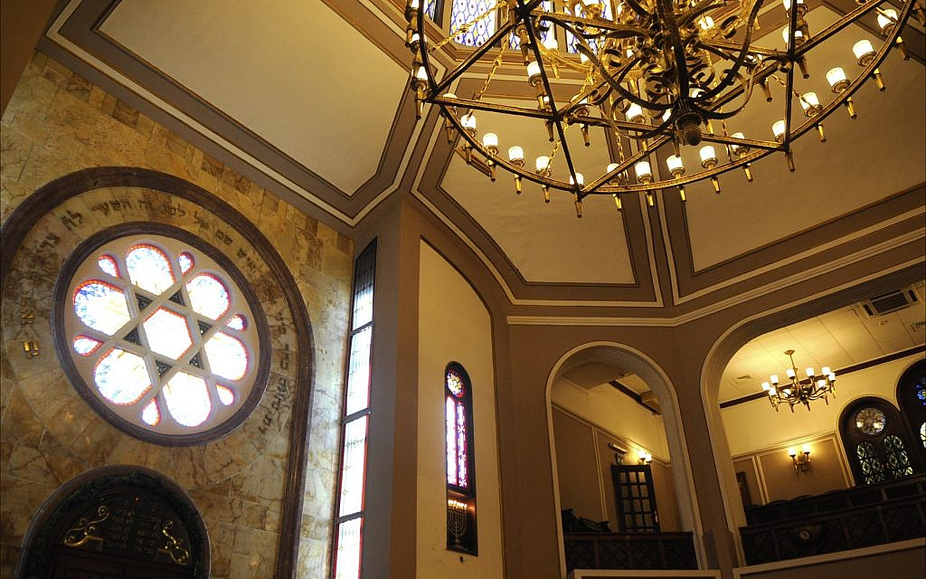Interior of Neve Şalom Synagogue, home of the Jewish Museum of Turkey, in Istanbul. (Larry Luxner/Times of Israel)