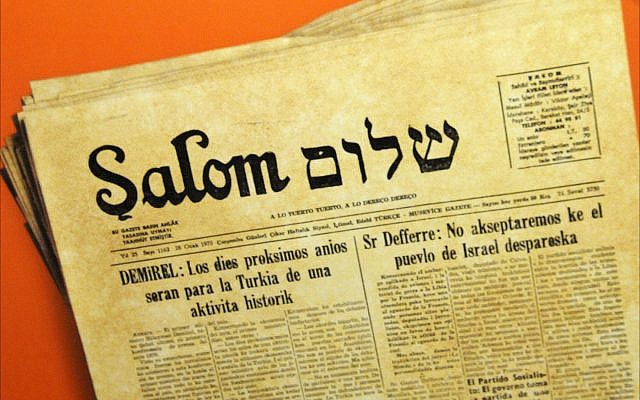 Illustrative copy of Şalom newspaper from 1970, published in Ladino, on display at the Jewish Museum of Turkey in Istanbul. (Larry Luxner/Times of Israel)