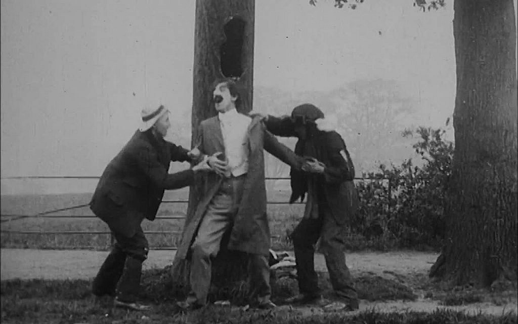 A still from the 1908 film, 'The Robber and the Jew.' Many early British depictions of Jews were stereotypically anti-Semitic. This film is part of the 'Jewish Britain on Film' project. (Courtesy)