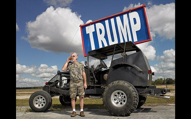 Bronzell Fowler with his Trump dune buggy, Cross City, Florida. Voted Donald Trump. Shot February 3rd, 2017. (Naomi Harris)
