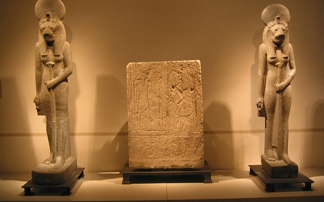 """Illustrative: Two statues of the Sekhmet sun goddess in the """"Ägyptisches Museum"""" of Berlin. (Courtesy: Wikipedia Commons)"""