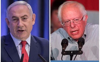 Prime Minister Benjamin Netanyahu, left, and Senator Bernie Sanders (Hadas Parush/Flash90; George Frey/Getty Images)