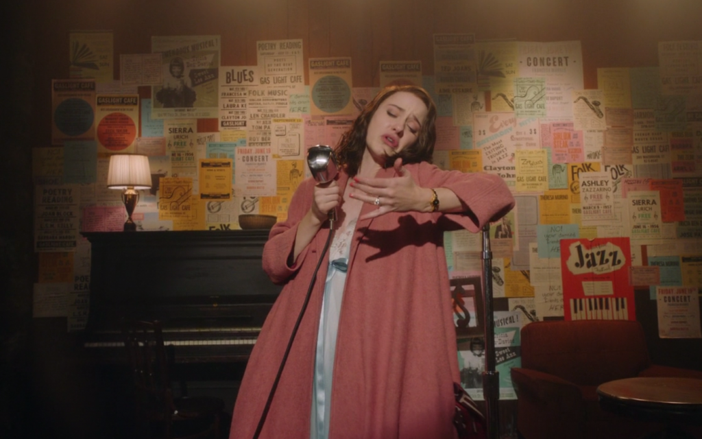 Rachel Brosnahan as Miriam Maisel, discovering her hidden knack for standup in 'The Marvelous Mrs. Maisel.' (Screenshot)